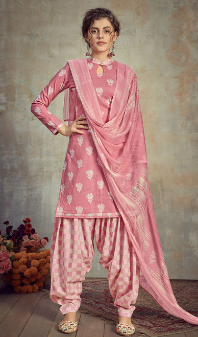 Cambric Cotton Printed Punjabi Suit in Pink Color