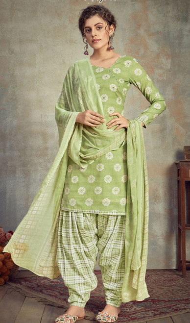 Cambric Cotton Printed Punjabi Suit in Light Green Color