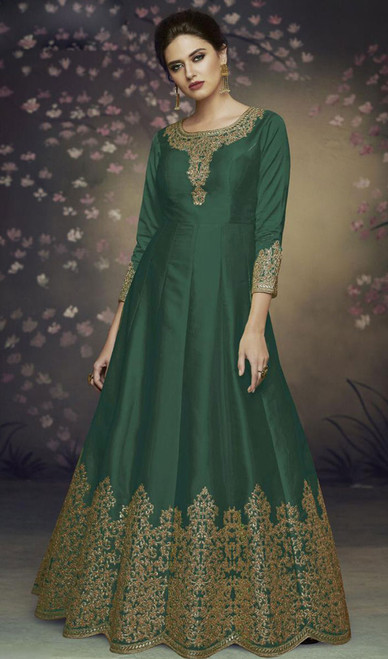 Dolla Silk Embroidered Anarkali Suit in Green Color