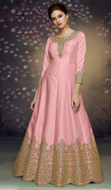 Dolla Silk Embroidered Anarkali Suit in Baby Pink Color