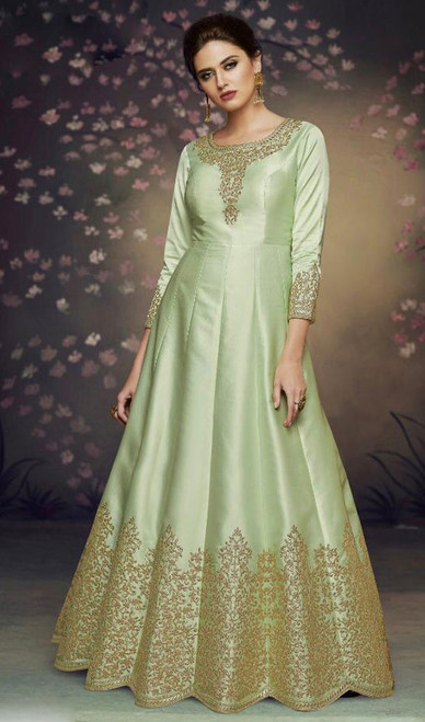 Dolla Silk Embroidered Anarkali Suit in Light Green Color