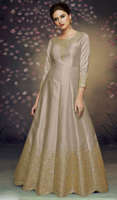 Dolla Silk Embroidered Anarkali Suit in Gray Color