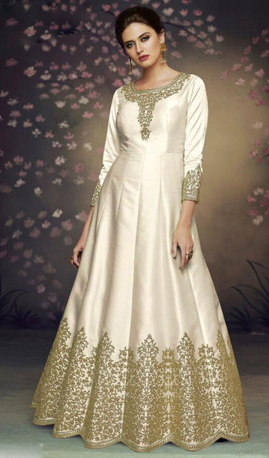 Dolla Silk Embroidered Anarkali Suit in White Color