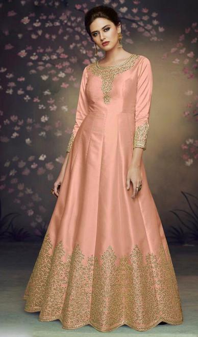 Dolla Silk Embroidered Anarkali Suit in Light Orange Color