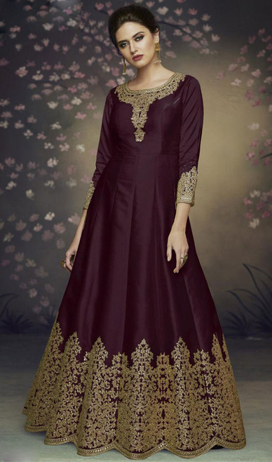 Dolla Silk Embroidered Anarkali Suit in Black Color