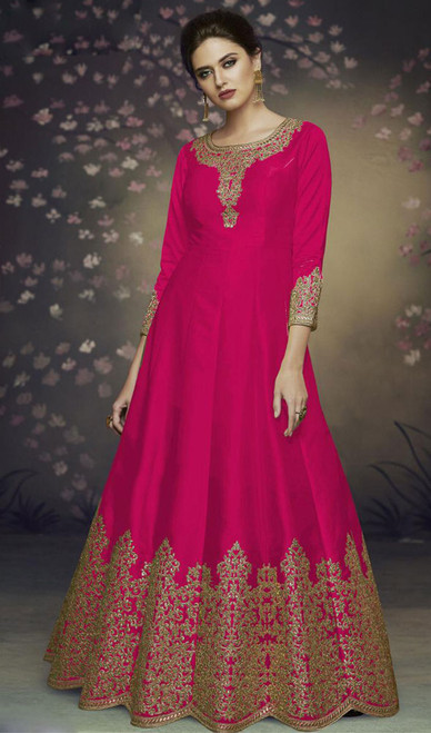 Dolla Silk Embroidered Anarkali Suit in Dark Pink Color