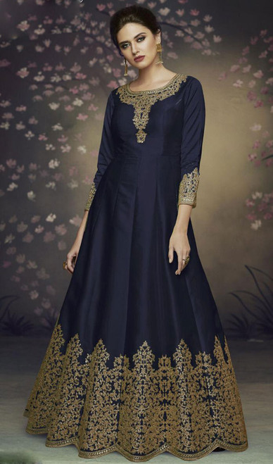 Dolla Silk Embroidered Anarkali Suit in Navy Blue Color
