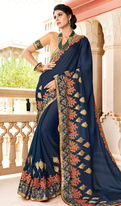 Rangoli Fabric Embroidered Sari in Navy Blue Color