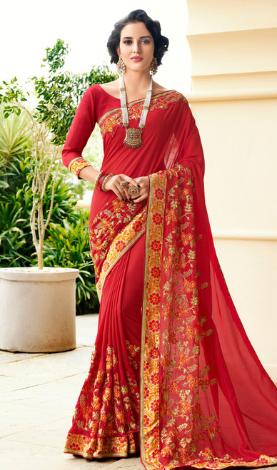 Rangoli Fabric Embroidered Sari in Red Color
