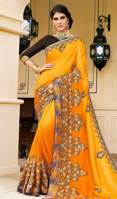 Rangoli Fabric Embroidered Sari in Yellow Color