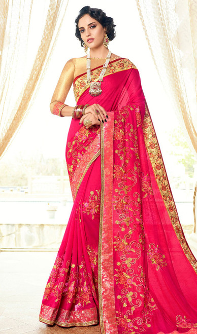 Rangoli Fabric Embroidered Sari in Pink Color
