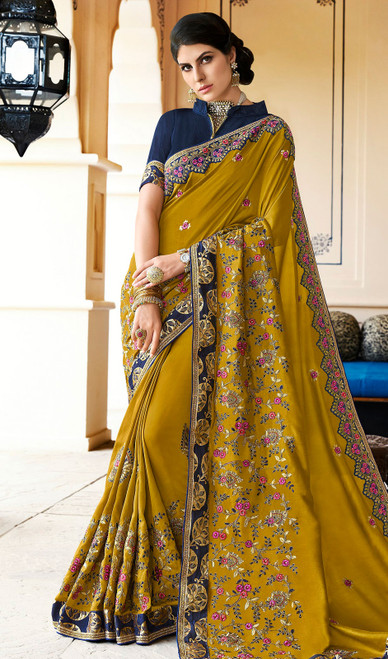 Rangoli Fabric Embroidered Sari in Mustard Color