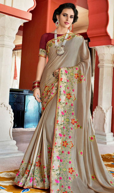 Rangoli Fabric Embroidered Sari in Gray Color