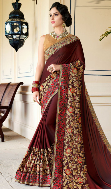 Rangoli Fabric Embroidered Sari in Maroon Color