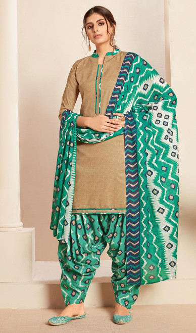 Beige Color Cotton Printed Punjabi Suit
