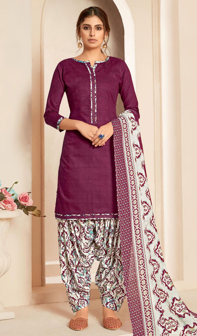 Purple Color Cotton Printed Punjabi Suit