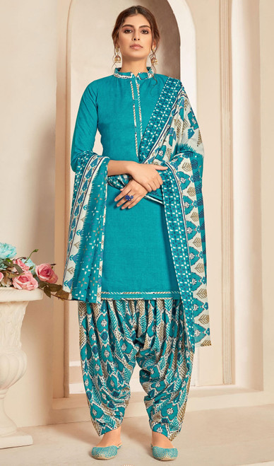 Sky Blue Color Cotton Printed Punjabi Suit