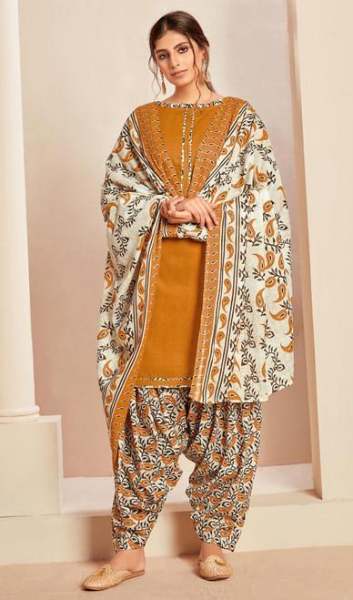 Mustard Color Cotton Printed Punjabi Suit
