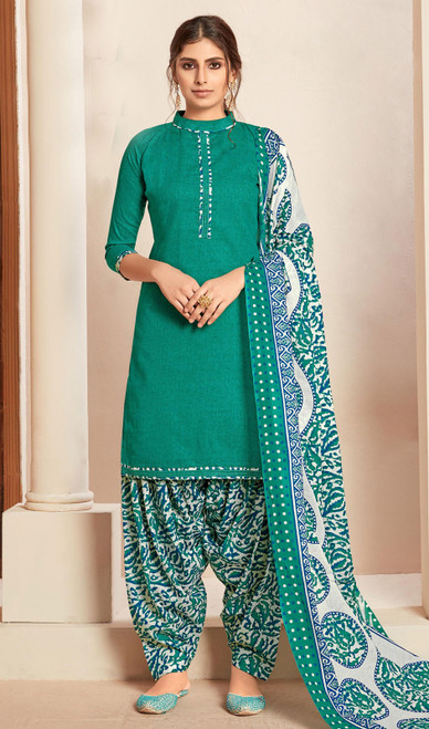 Green Color Cotton Printed Punjabi Suit