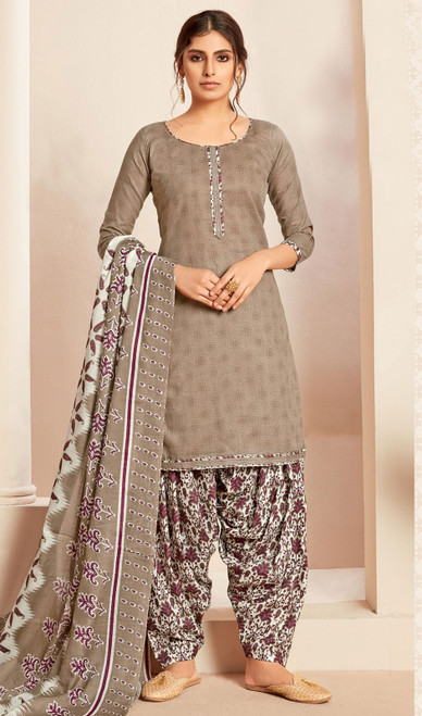Cotton Printed Punjabi Suit in Beige Color