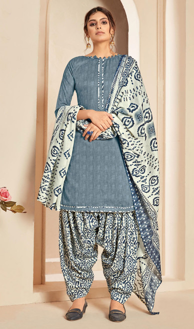 Gray Color Cotton Printed Punjabi Suit