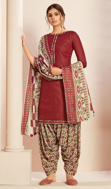 Maroon Color Cotton Printed Punjabi Suit