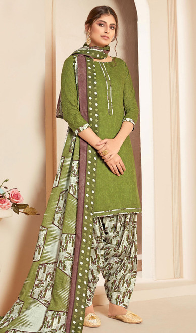 Cotton Green Color Printed Punjabi Suit