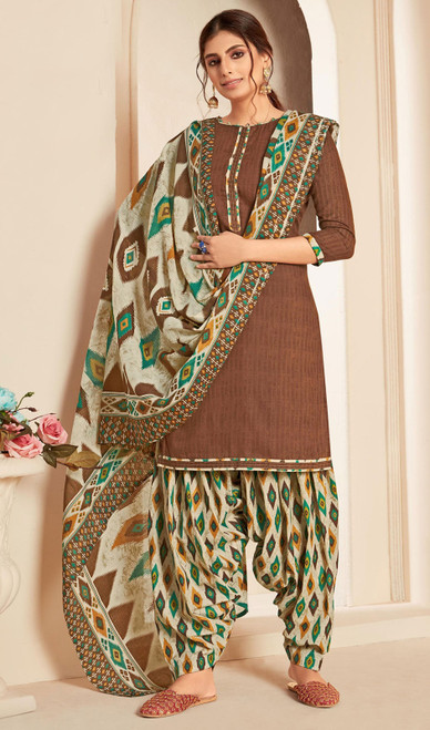 Brown Color Cotton Printed Punjabi Suit