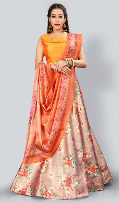Satin Silk Printed Lehenga Skirt in Multicolor