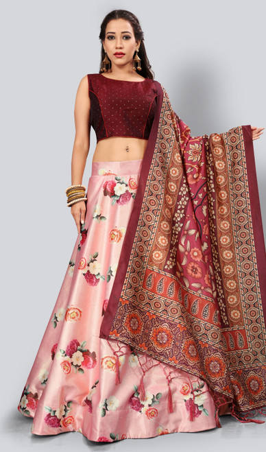 Satin Silk Printed Lehenga Skirt in Pink Color