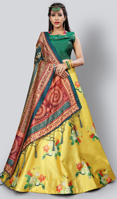 Satin Silk Printed Lehenga Skirt in Yellow Color