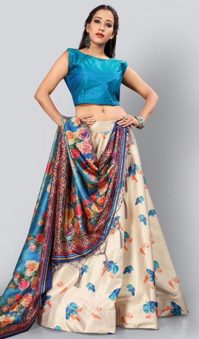 Satin Silk Printed Lehenga Skirt in Cream Color