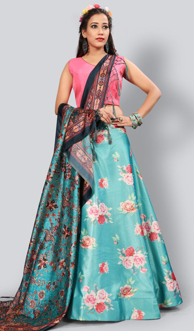 Satin Silk Printed Lehenga Skirt in Blue Color