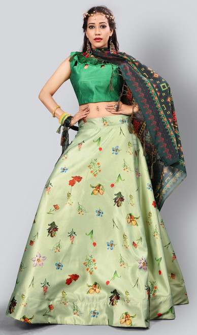 Satin Silk Printed Lehenga Skirt in Pastel Green Color