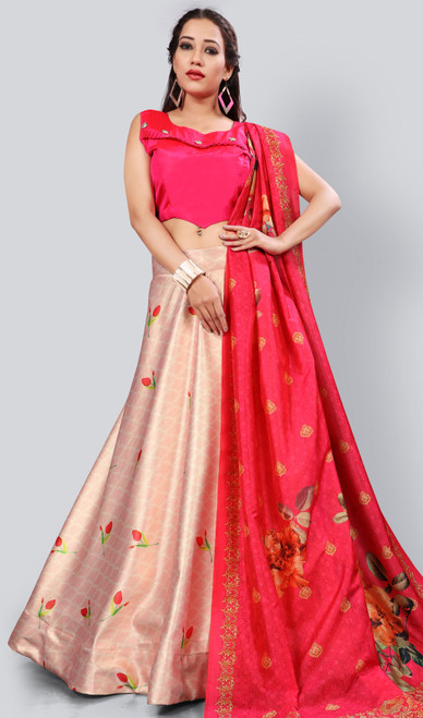 Satin Silk Printed Lehenga Skirt in Baby Pink Color