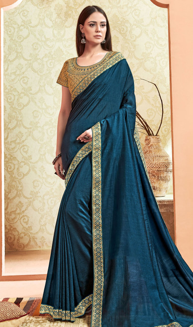 Peacock Blue Color Silk Embroidered Saree