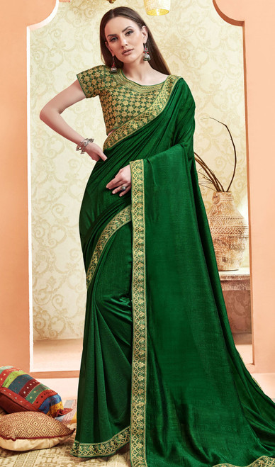 Mehendi Green Color Silk Embroidered Saree