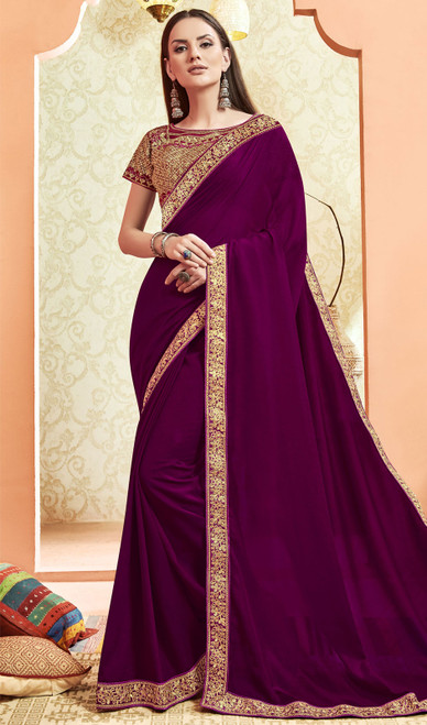 Silk Wine Color Embroidered Saree