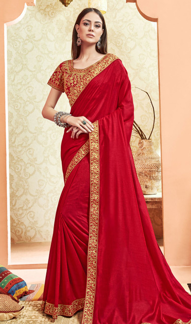 Silk Red Color Embroidered Saree