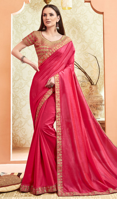Silk Rani Pink Color Embroidered Saree