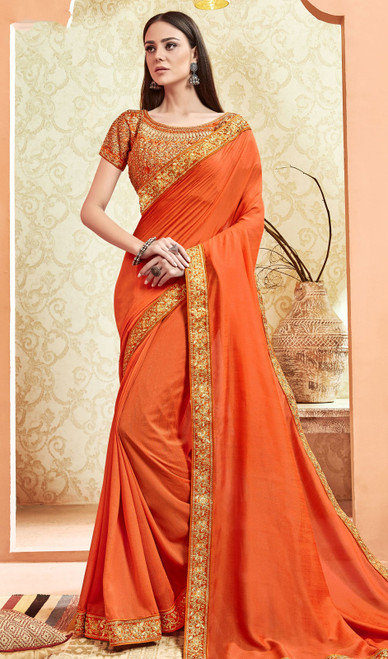 Orange Color Silk Fancy Embroidered Saree