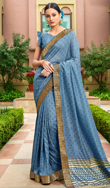 Blue Color Silk Fancy Printed Sari