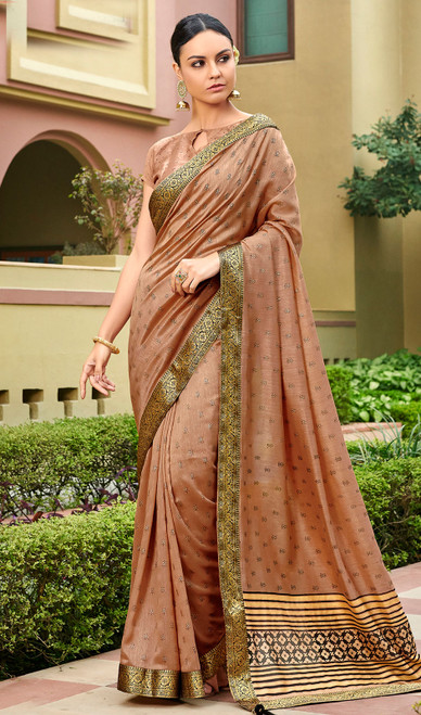 Copper Color Silk Fancy Printed Sari
