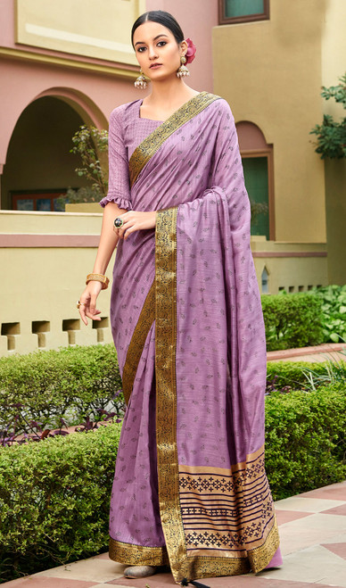Light Purple Color Silk Fancy Printed Sari