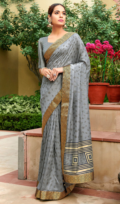 Gray Color Silk Fancy Printed Sari