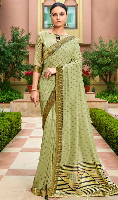 Sea Green Color Silk Fancy Printed Sari