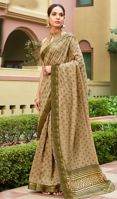 Beige Color Silk Fancy Printed Sari