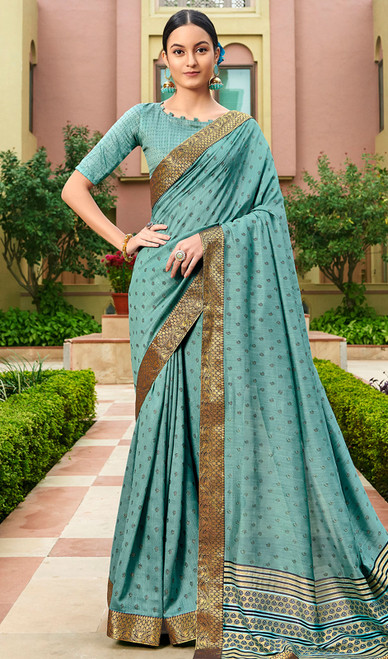 Teal Blue Color Silk Fancy Printed Sari