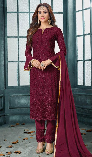 Faux Georgette Embroidered Pant Style Suit in Wine Color