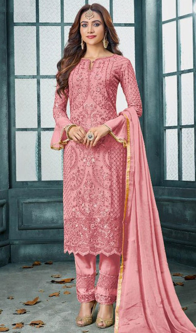 Faux Georgette Embroidered Pant Style Suit in Baby Pink Color